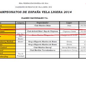 Publicado el calendario de la RFEV: Chipiona sede del Campeonato de España 2014Catamarán.