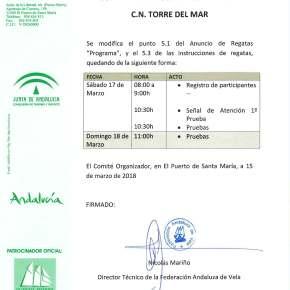 Aviso MUY IMPORTANTE I Copa de Andalucía Torre delMar