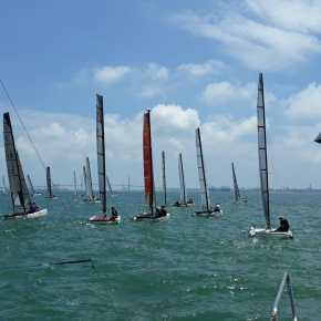 Santiago Nieto y la tripulación de Rafael Martín-Prat y Adriano -Poti- Patrón, campeones de Andalucía de Catamarán2018